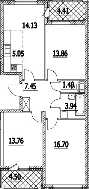 4Е-к.кв, 80.75 м², 15 этаж