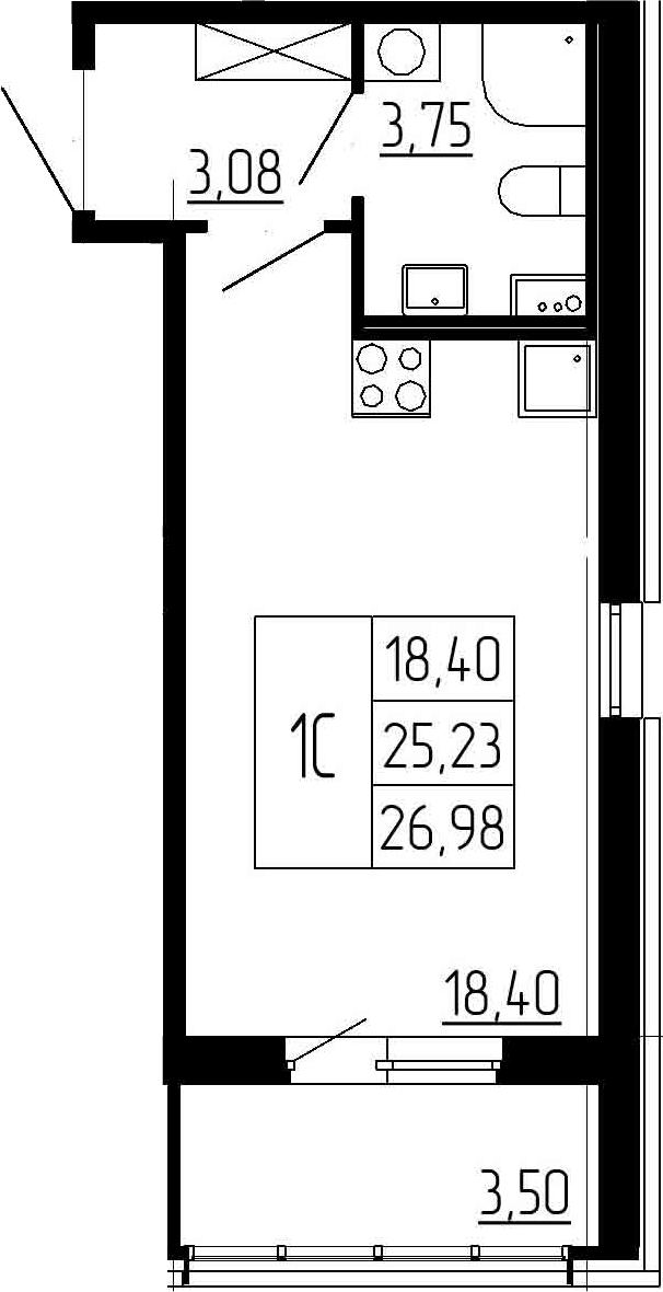 Студия, 28.73 м²