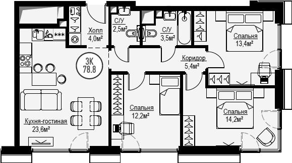 4Е-к.кв, 78.8 м², от 20 этажа