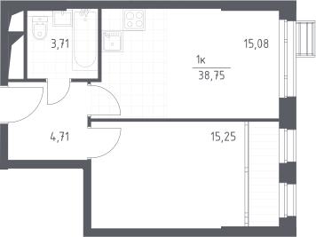 2-к.кв (евро), 38.75 м²