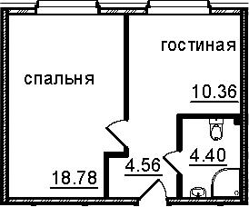 1-к.кв, 38.1 м²
