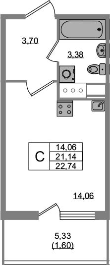 Студия, 21.14 м²
