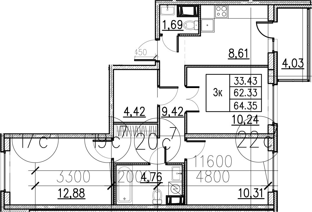 3-к.кв, 66.36 м²