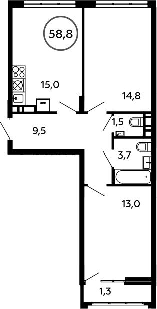 3Е-к.кв, 58.8 м², 7 этаж