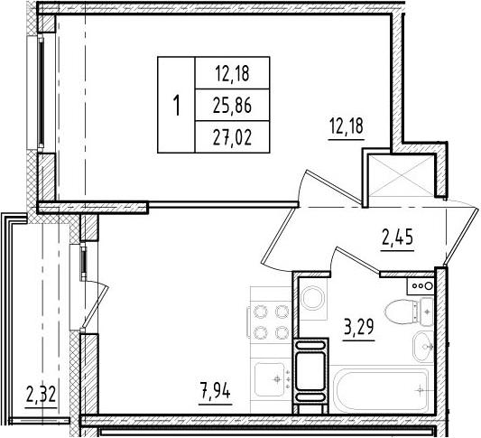 1-к.кв, 25.86 м²