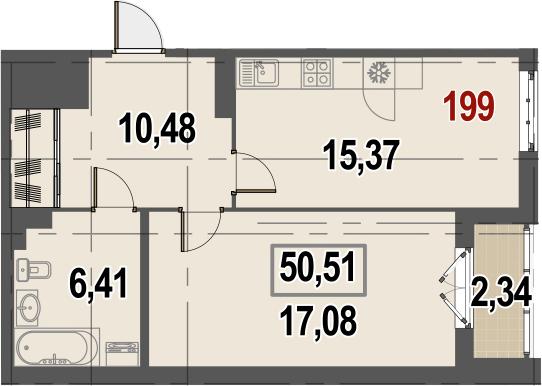 1-к.кв, 51.68 м²