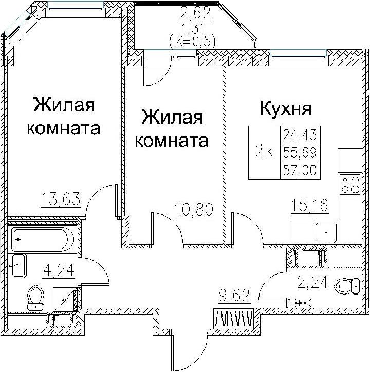 3-к.кв (евро), 58.31 м²
