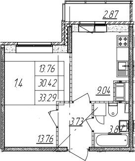 1-комнатная, 30.42 м²– 2