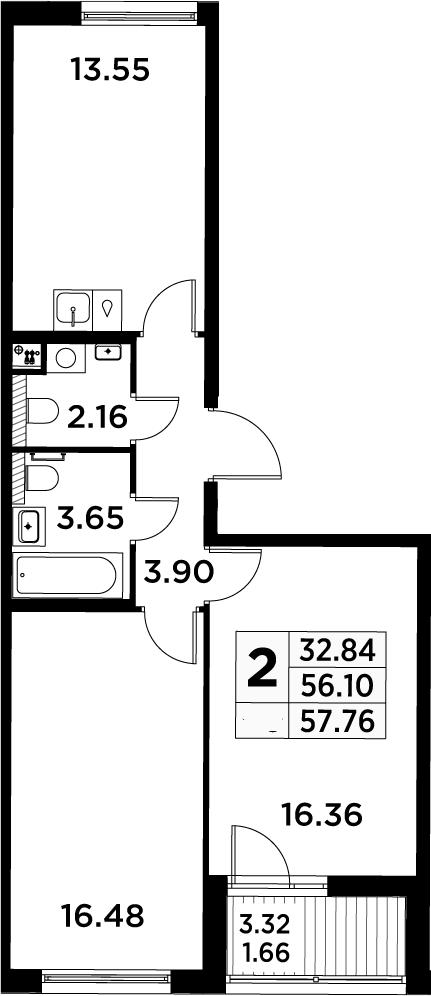 2-к.кв, 57.76 м²