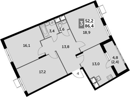 3-к.кв, 86.4 м², 3 этаж