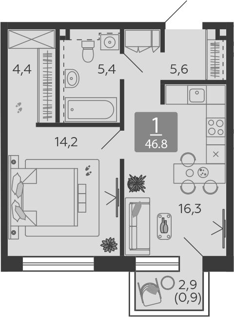2Е-к.кв, 46.8 м², 19 этаж