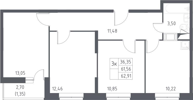 3-к.кв, 64.26 м²