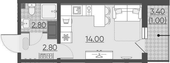 Студия, 20.3 м², 15 этаж – Планировка