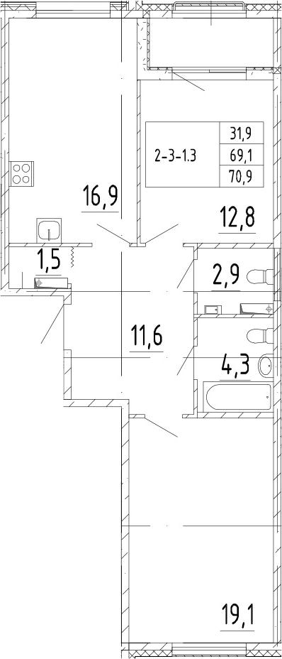 3Е-комнатная, 70.9 м²– 2