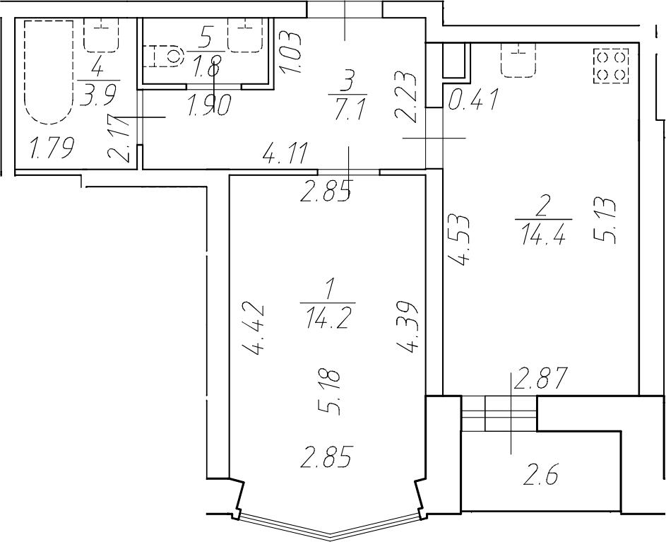 1-к.кв, 41.4 м²