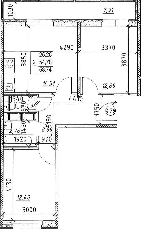 2-к.кв, 62.69 м²