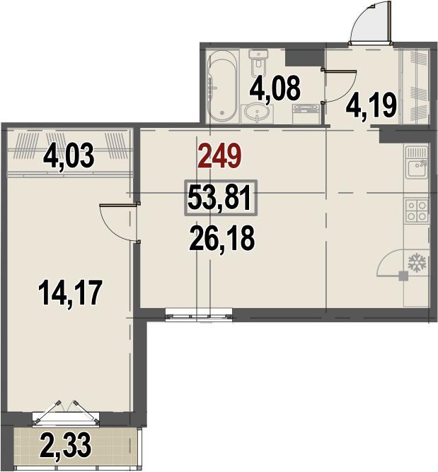 2Е-к.кв, 53.81 м²