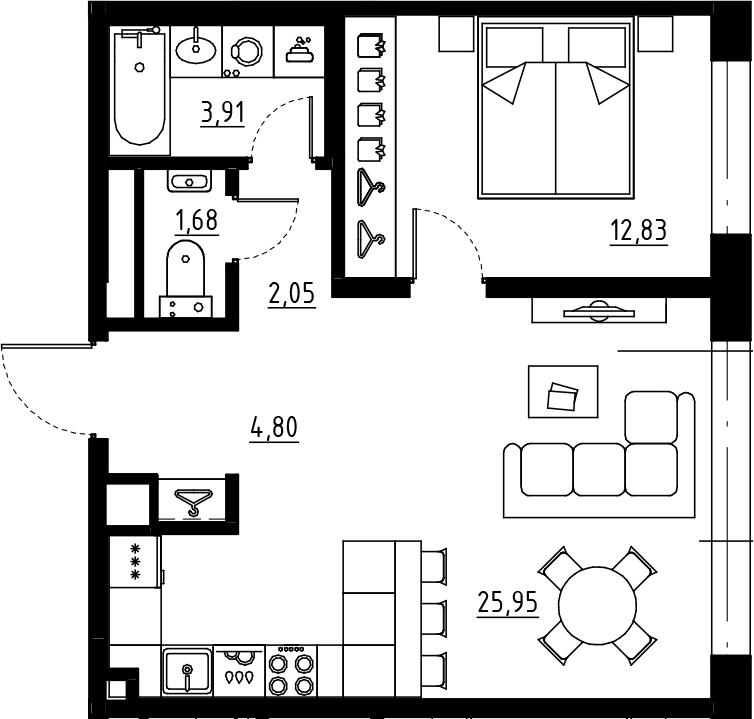 2Е-комнатная квартира, 51.22 м², 9 этаж – Планировка