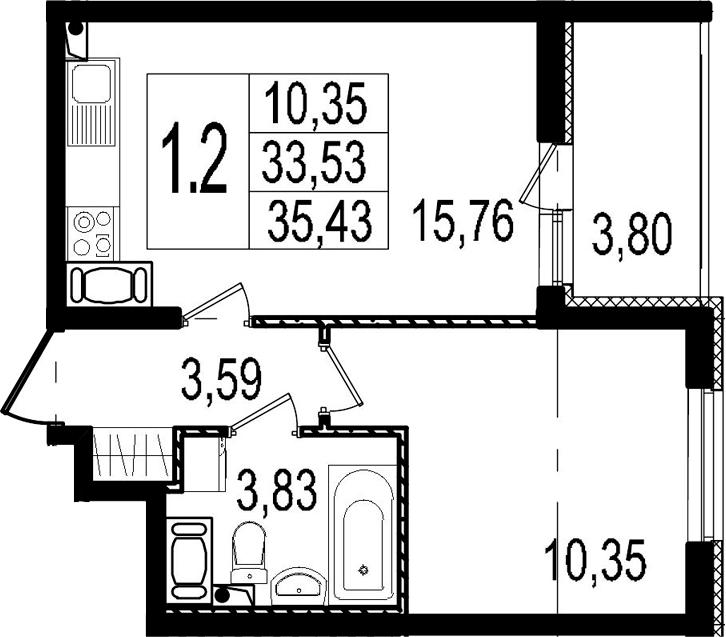 2Е-к.кв, 33.53 м², 5 этаж