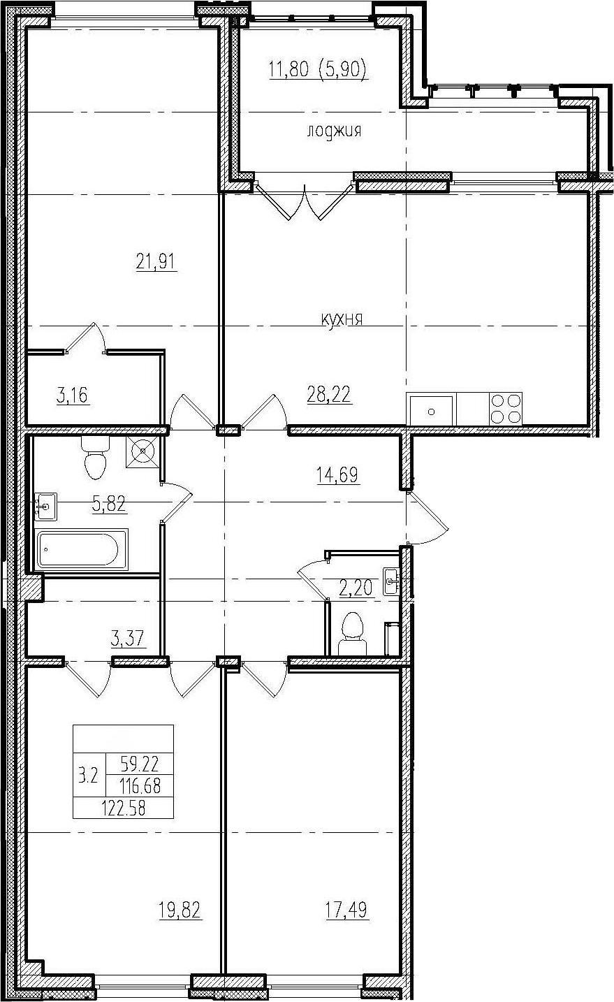 4Е-комнатная, 122.58 м²– 2