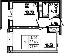 1-к.кв, 38.93 м²
