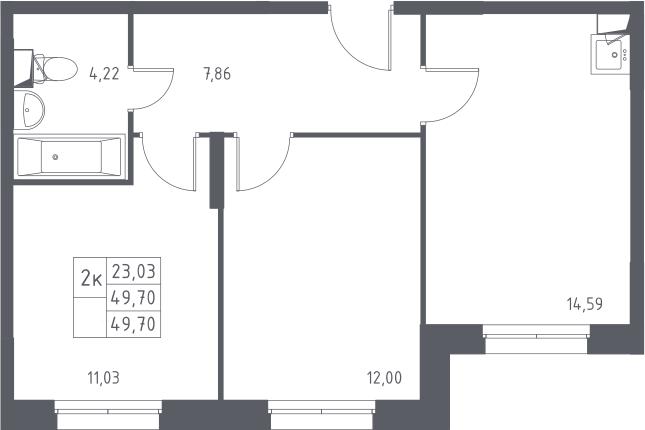 2-к.кв, 49.7 м², 1 этаж