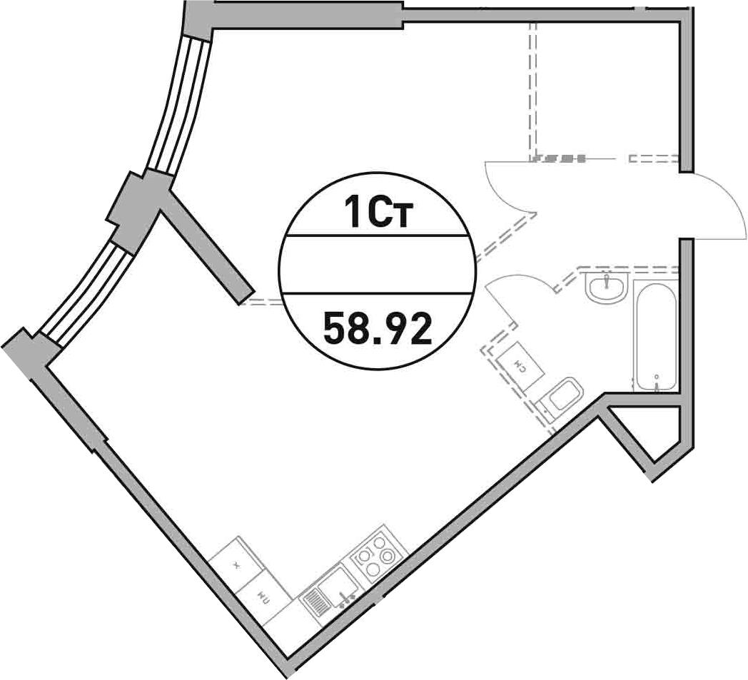 Своб. план., 58.92 м²