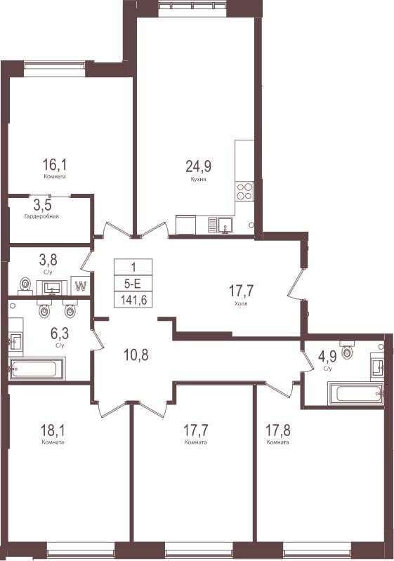 5-к.кв (евро), 141.6 м²