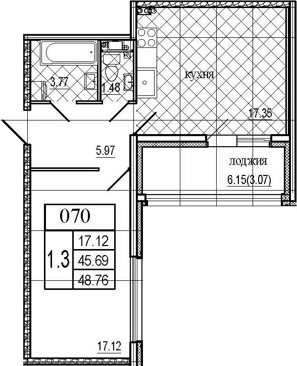 2Е-комнатная, 48.76 м²– 2