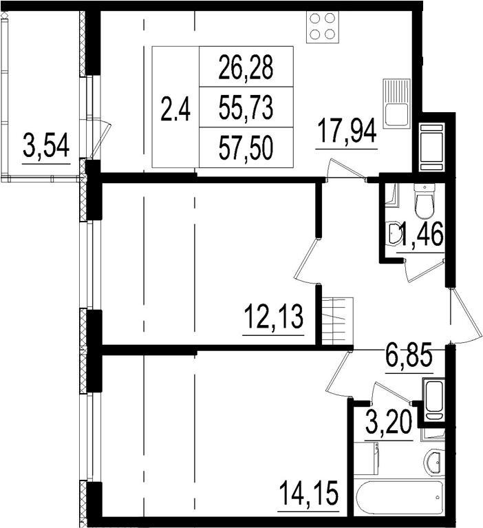 3Е-к.кв, 55.73 м²