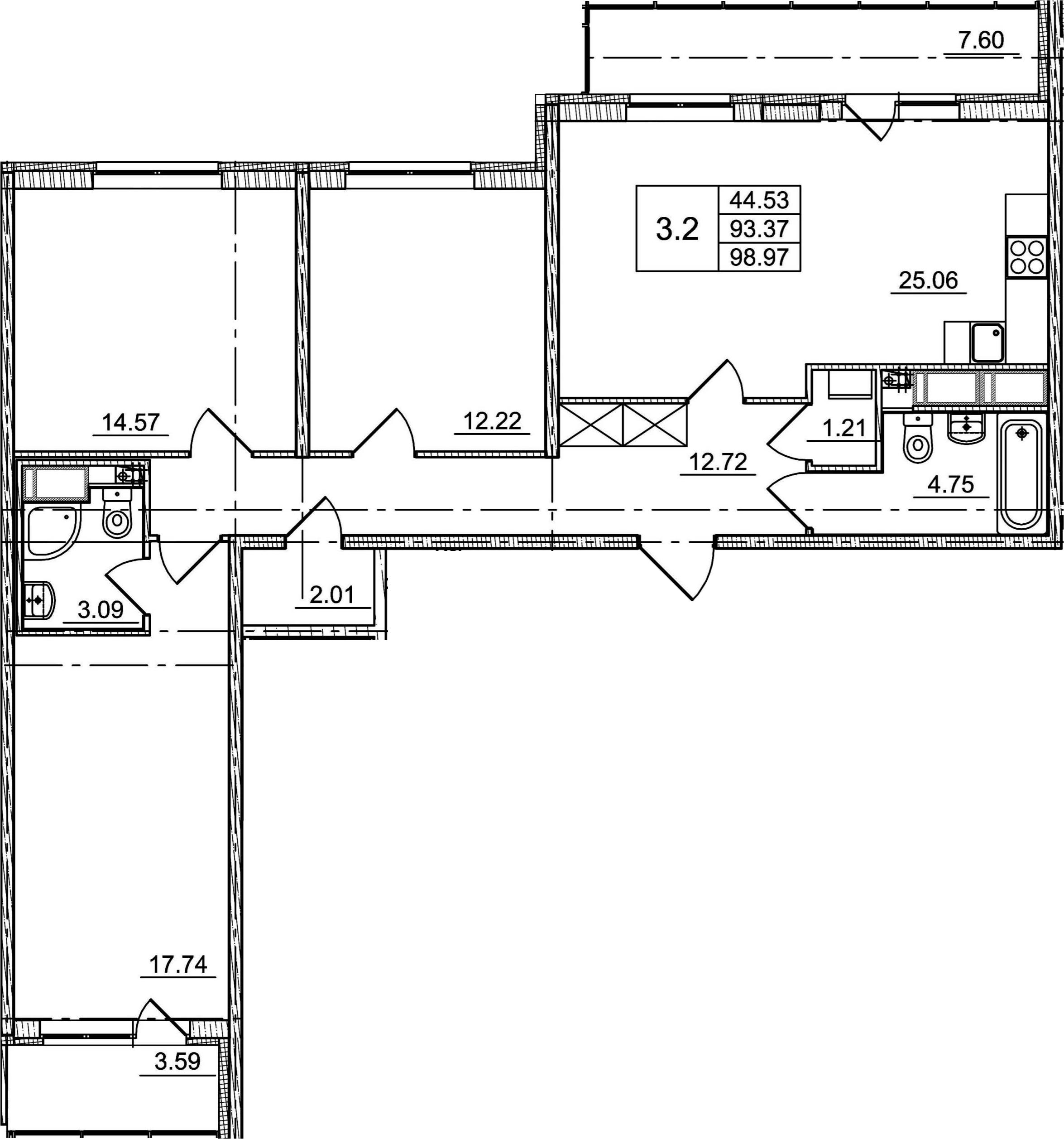 4Е-комнатная, 93.37 м²– 2