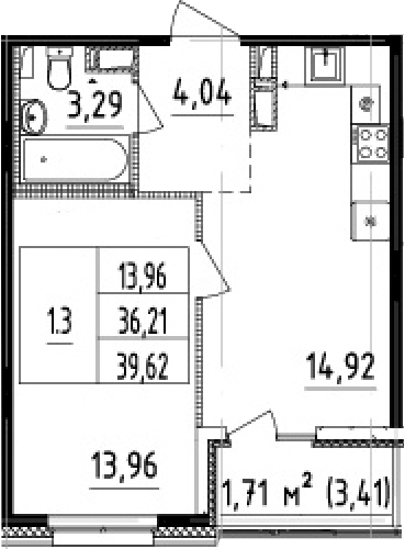 2-к.кв (евро), 39.62 м²