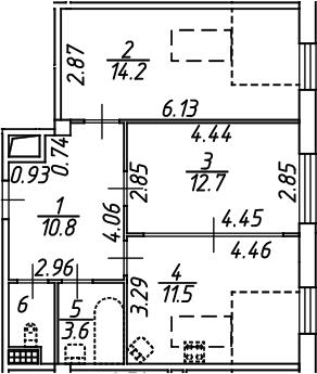 2-комнатная, 55 м²– 2