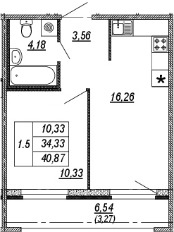 2Е-к.кв, 34.33 м², от 9 этажа