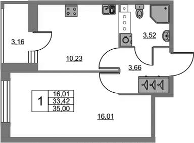 1-к.кв, 36.58 м²