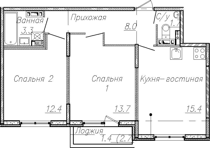 3Е-к.кв, 54.5 м², 4 этаж
