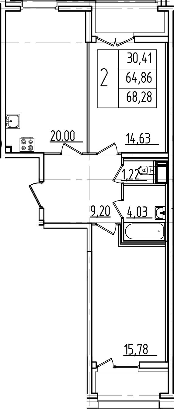 3Е-к.кв, 68.28 м², 3 этаж