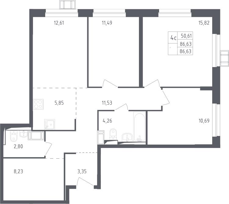 4Е-к.кв, 86.63 м², 16 этаж