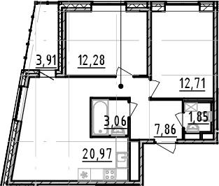2-к.кв, 58.73 м², от 3 этажа