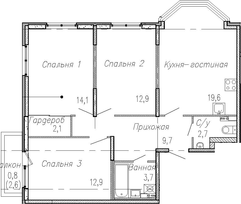 4Е-комнатная квартира, 77.7 м², 2 этаж – Планировка