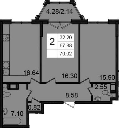 2-к.кв, 70.02 м²