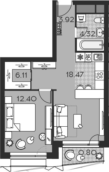 2Е-комнатная, 46.02 м²– 2