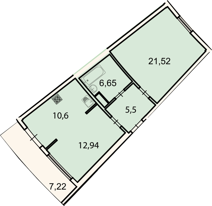 2-к.кв, 59.4 м²