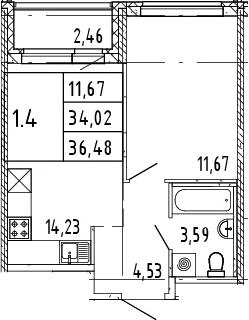 2Е-комнатная, 35.25 м²– 2