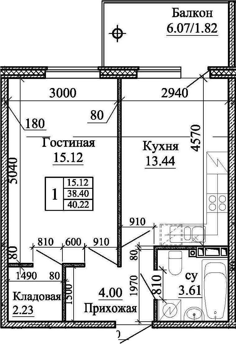 1-комнатная, 40.22 м²– 2