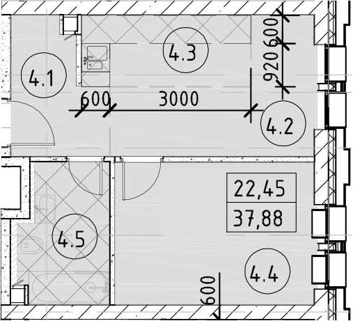 1-к.кв, 37.88 м²