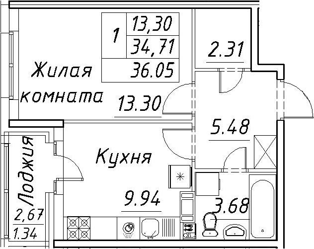 1-к.кв, 37.39 м²
