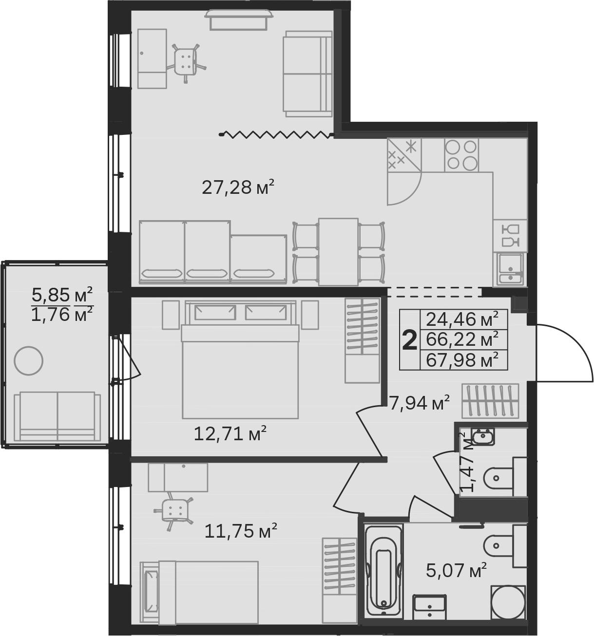 3Е-комнатная, 67.98 м²– 2