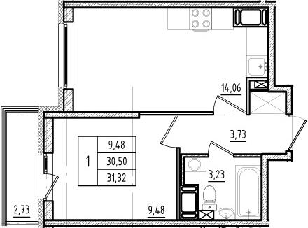 2Е-комнатная, 30.5 м²– 2