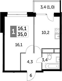 1-к.кв, 35 м²